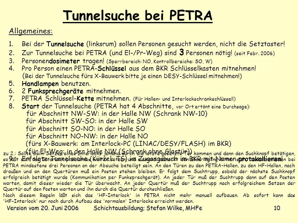 Version vom 20. Juni 2006Schichtausbildung; Stefan Wilke, MHFe10 1. Bei der Tunnelsuche (linksrum) sollen Personen gesucht werden, nicht die Setztaste