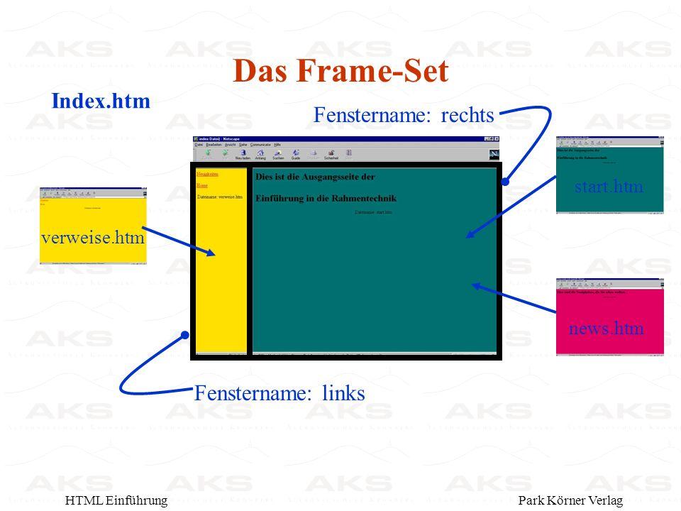 Park Körner VerlagHTML Einführung Das Frame-Set Index.htm verweise.htmnews.htmstart.htm Fenstername: rechts Fenstername: links