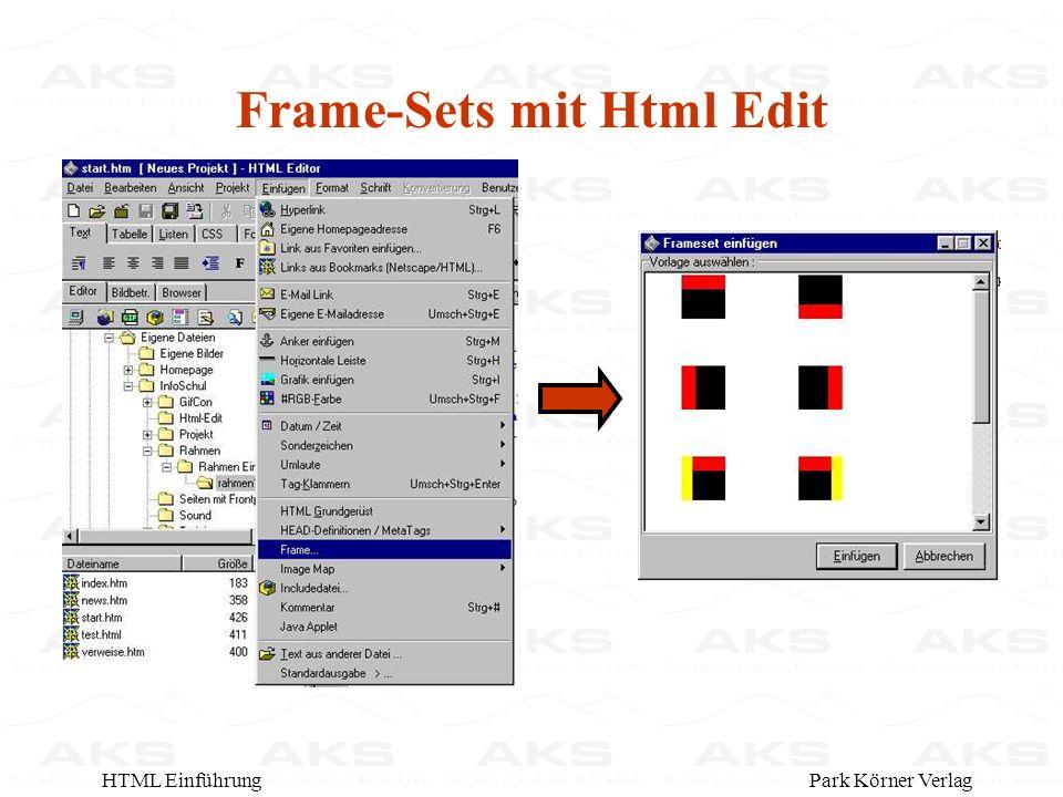 Park Körner VerlagHTML Einführung Frame-Sets mit Html Edit