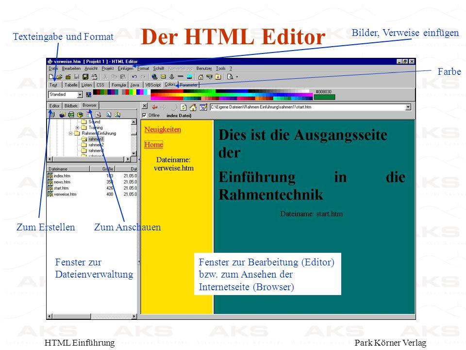 Park Körner VerlagHTML Einführung Der HTML Editor Zum ErstellenZum Anschauen Fenster zur Dateienverwaltung Fenster zur Bearbeitung (Editor) bzw.