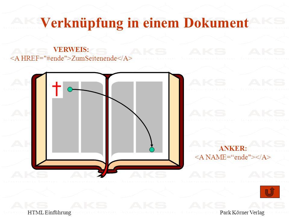 Park Körner VerlagHTML Einführung VERWEIS: ZumSeitenende ANKER: Verknüpfung in einem Dokument