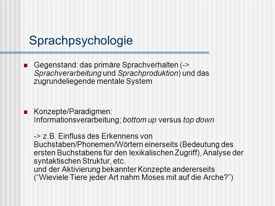Sprachpsychologie Gegenstand: das primäre Sprachverhalten (-> Sprachverarbeitung und Sprachproduktion) und das zugrundeliegende mentale System Konzept