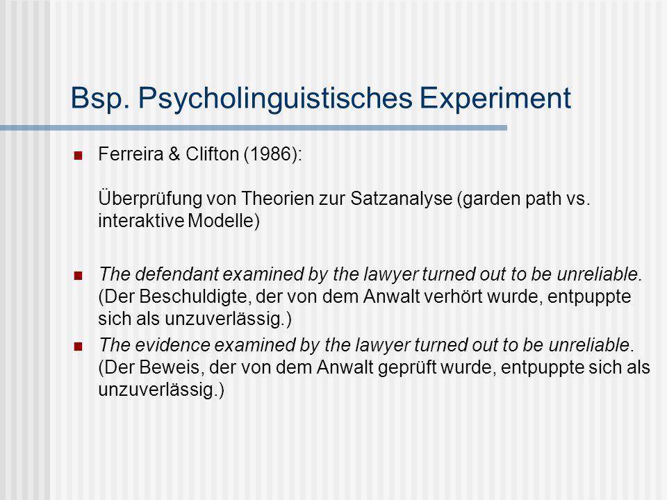 Bsp. Psycholinguistisches Experiment Ferreira & Clifton (1986): Überprüfung von Theorien zur Satzanalyse (garden path vs. interaktive Modelle) The def