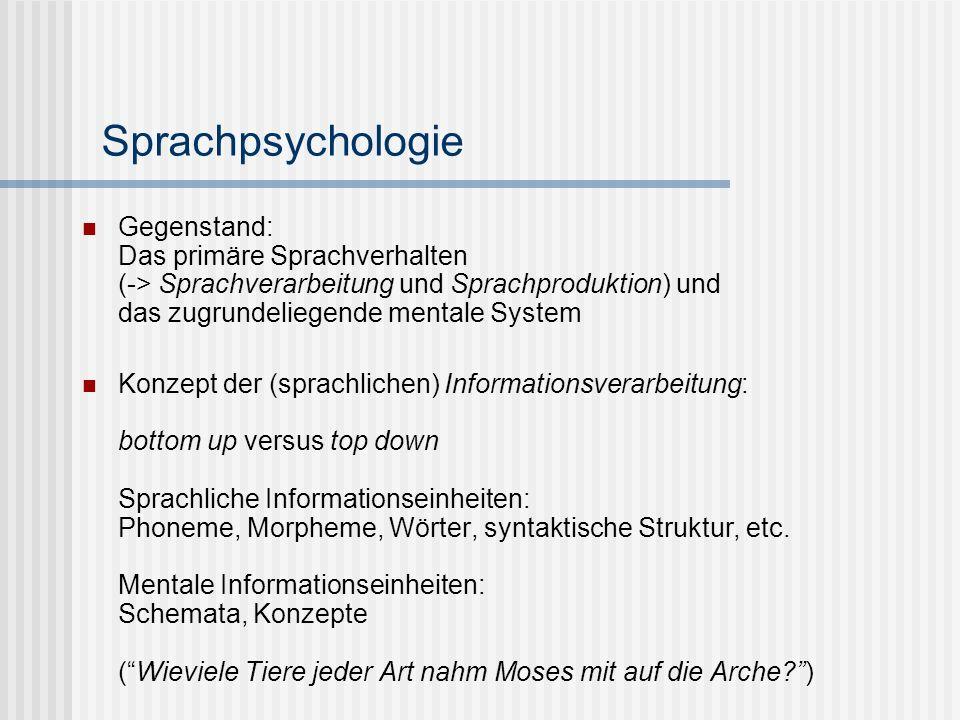 Gegenstand: Das primäre Sprachverhalten (-> Sprachverarbeitung und Sprachproduktion) und das zugrundeliegende mentale System Konzept der (sprachlichen