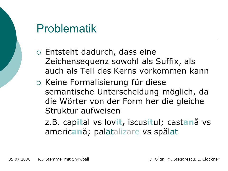 Problematik Entsteht dadurch, dass eine Zeichensequenz sowohl als Suffix, als auch als Teil des Kerns vorkommen kann Keine Formalisierung für diese semantische Unterscheidung möglich, da die Wörter von der Form her die gleiche Struktur aufweisen z.B.
