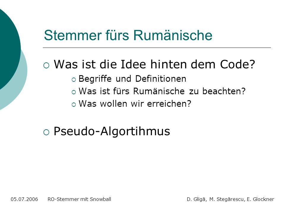 Stemmer fürs Rumänische Was ist die Idee hinten dem Code.