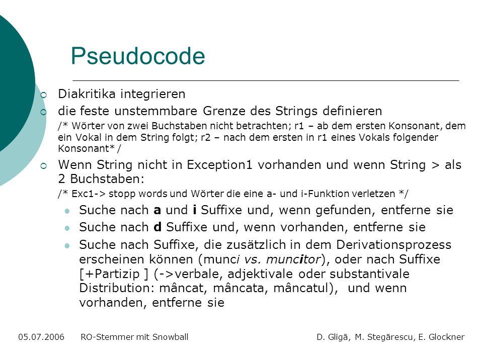 Pseudocode 05.07.2006 RO-Stemmer mit Snowball D. Gligă, M. Stegărescu, E. Glockner Diakritika integrieren die feste unstemmbare Grenze des Strings def