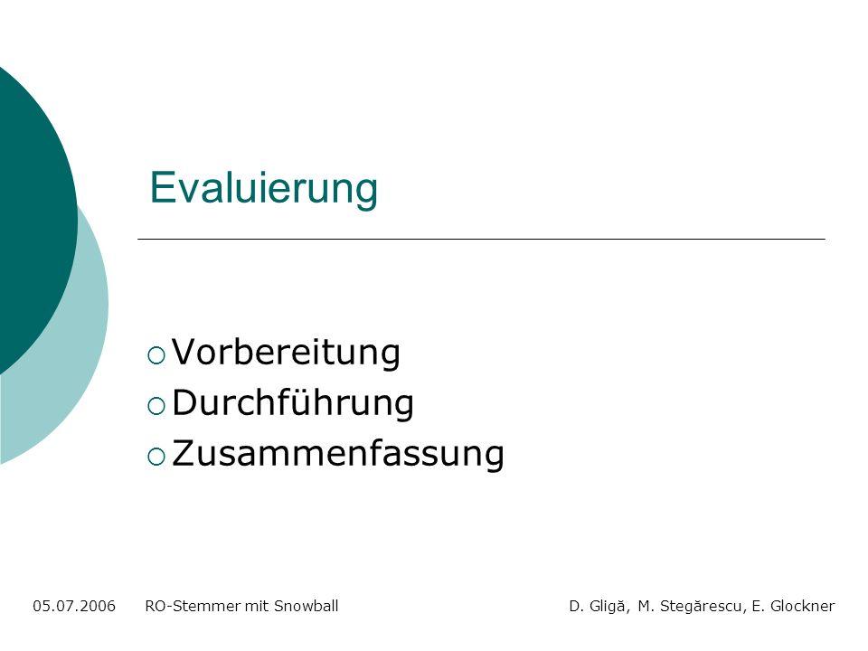 Evaluierung Vorbereitung Durchführung Zusammenfassung 05.07.2006 RO-Stemmer mit Snowball D.