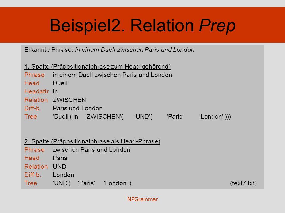 NPGrammar Beispiel2. Relation Prep Erkannte Phrase: in einem Duell zwischen Paris und London 1. Spalte (Präpositionalphrase zum Head gehörend) Phrasei