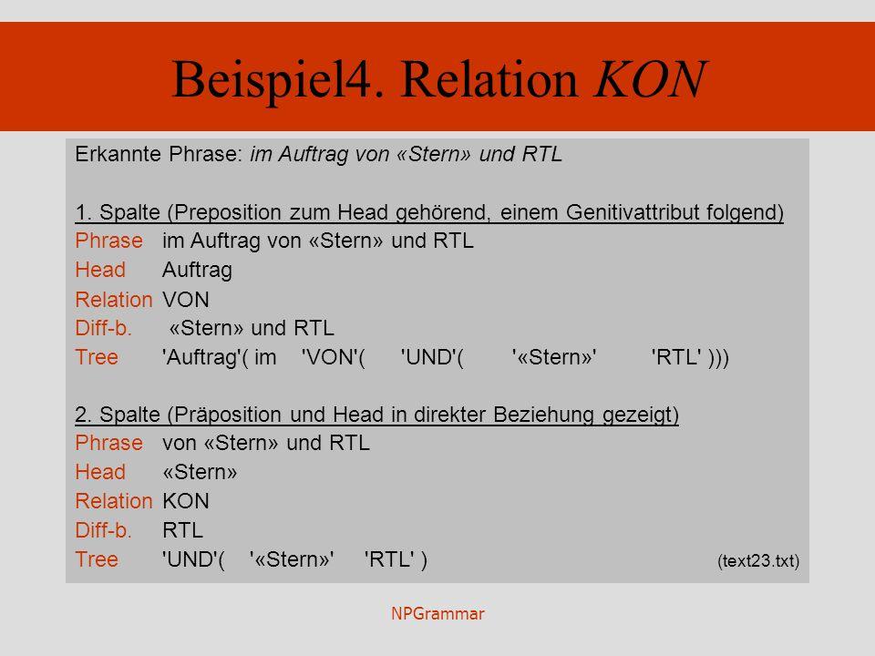 NPGrammar Beispiel4. Relation KON Erkannte Phrase: im Auftrag von «Stern» und RTL 1. Spalte (Preposition zum Head gehörend, einem Genitivattribut folg