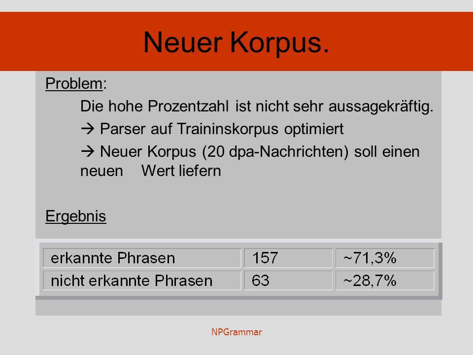 NPGrammar Neuer Korpus. Problem: Die hohe Prozentzahl ist nicht sehr aussagekräftig. Parser auf Traininskorpus optimiert Neuer Korpus (20 dpa-Nachrich