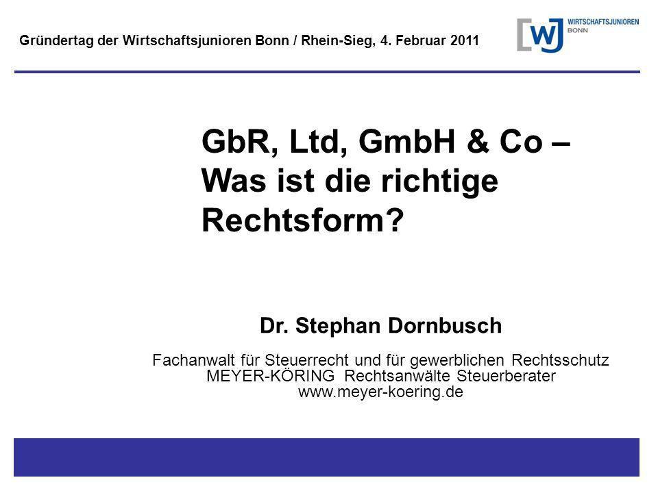 Titel - Untertitel GbR, Ltd, GmbH & Co – Was ist die richtige Rechtsform.