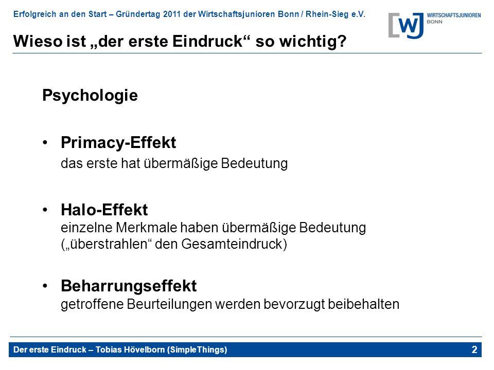 Erfolgreich an den Start – Gründertag 2011 der Wirtschaftsjunioren Bonn / Rhein-Sieg e.V. Der erste Eindruck – Tobias Hövelborn (SimpleThings) 2 Wieso