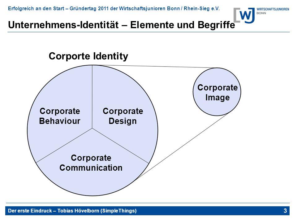 Erfolgreich an den Start – Gründertag 2011 der Wirtschaftsjunioren Bonn / Rhein-Sieg e.V. Der erste Eindruck – Tobias Hövelborn (SimpleThings) 3 Unter