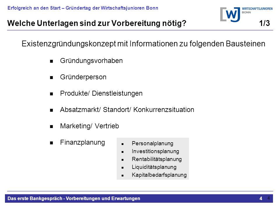 Erfolgreich an den Start – Gründertag der Wirtschaftsjunioren Bonn Das erste Bankgespräch - Vorbereitungen und Erwartungen4 4 Welche Unterlagen sind zur Vorbereitung nötig.