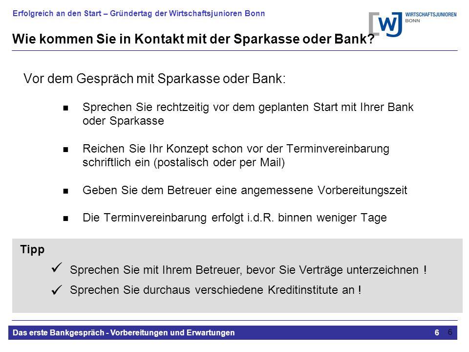 Erfolgreich an den Start – Gründertag der Wirtschaftsjunioren Bonn Das erste Bankgespräch - Vorbereitungen und Erwartungen6 6 Vor dem Gespräch mit Spa