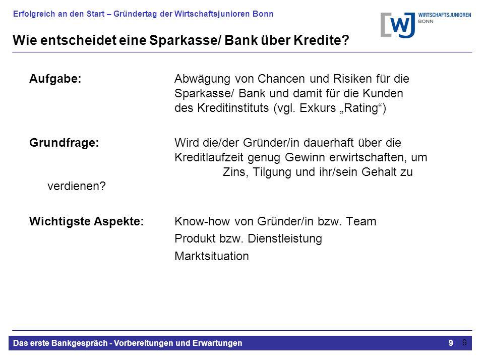 Erfolgreich an den Start – Gründertag der Wirtschaftsjunioren Bonn Das erste Bankgespräch - Vorbereitungen und Erwartungen9 9 Wie entscheidet eine Sparkasse/ Bank über Kredite.