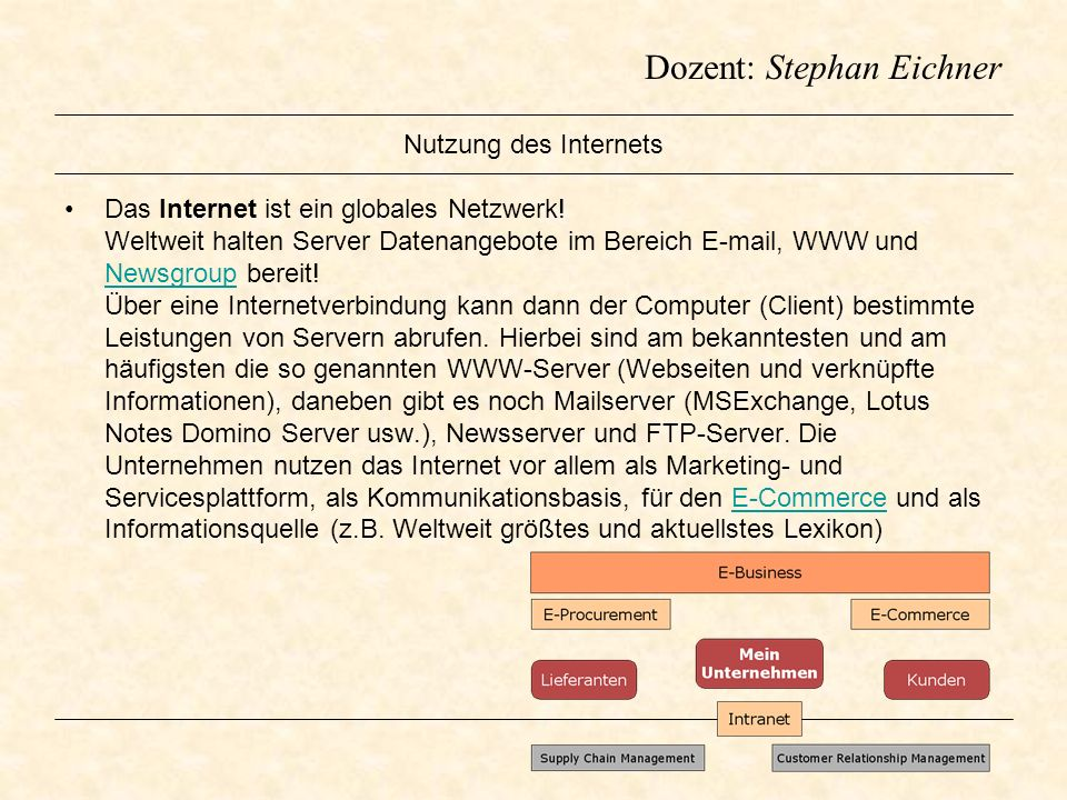 Dozent: Stephan Eichner Nutzung des Internets Das Internet ist ein globales Netzwerk! Weltweit halten Server Datenangebote im Bereich E-mail, WWW und