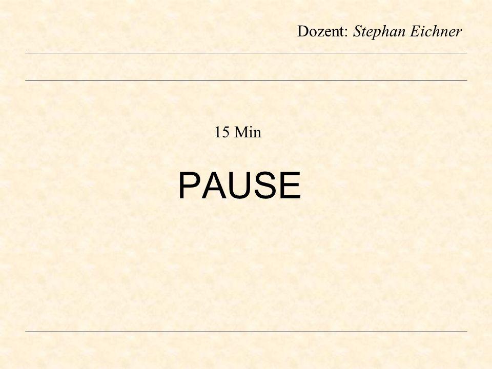 Dozent: Stephan Eichner PAUSE 15 Min