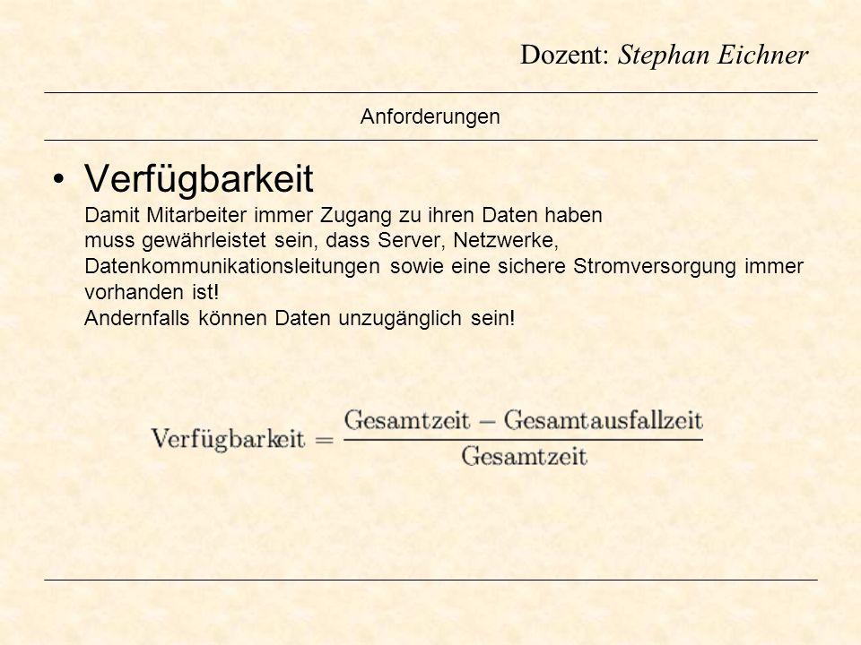 Dozent: Stephan Eichner Anforderungen Verfügbarkeit Damit Mitarbeiter immer Zugang zu ihren Daten haben muss gewährleistet sein, dass Server, Netzwerk
