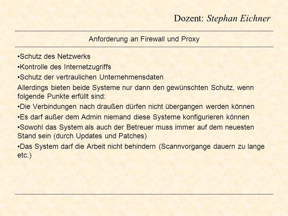 Dozent: Stephan Eichner Anforderung an Firewall und Proxy Schutz des Netzwerks Kontrolle des Internetzugriffs Schutz der vertraulichen Unternehmensdat
