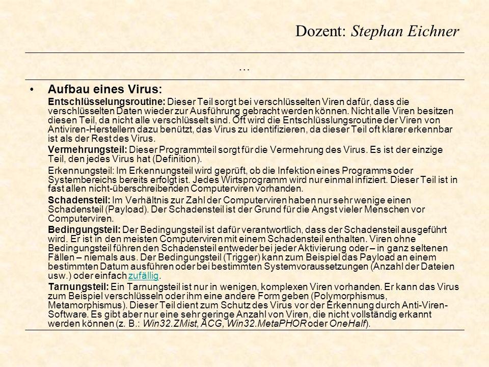 Dozent: Stephan Eichner … Aufbau eines Virus: Entschlüsselungsroutine: Dieser Teil sorgt bei verschlüsselten Viren dafür, dass die verschlüsselten Dat