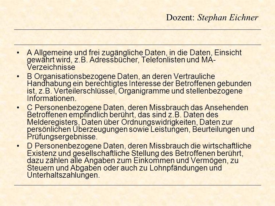 Dozent: Stephan Eichner A Allgemeine und frei zugängliche Daten, in die Daten, Einsicht gewährt wird, z.B. Adressbücher, Telefonlisten und MA- Verzeic
