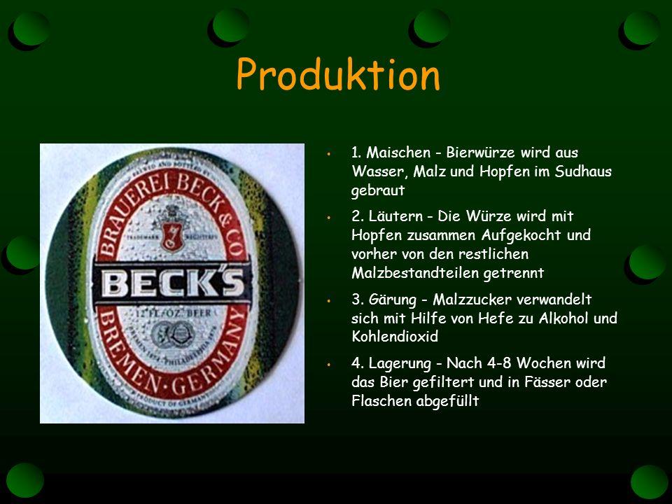 1. Maischen - Bierwürze wird aus Wasser, Malz und Hopfen im Sudhaus gebraut 2.