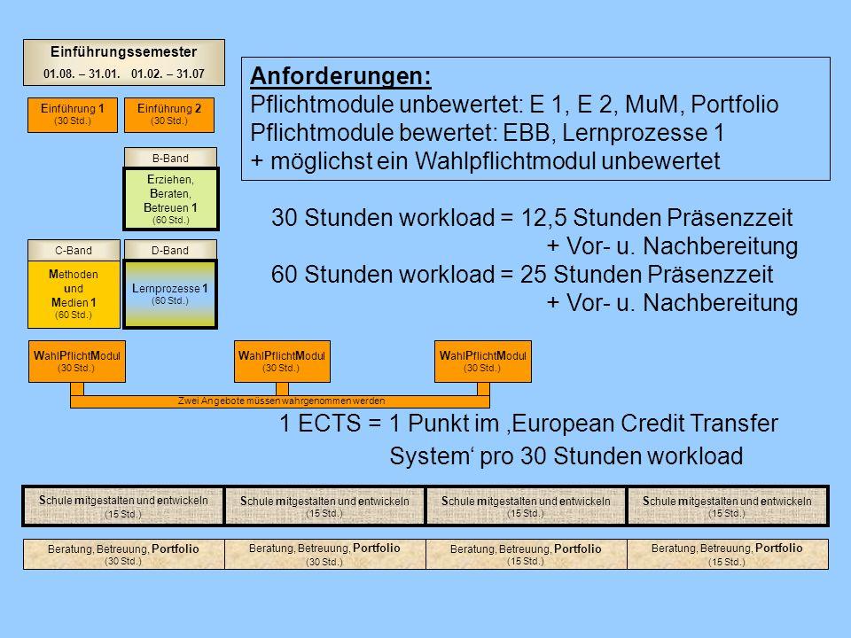 D-BandC-Band B-Band Einführungssemester 01.08. – 31.01. 01.02. – 31.07 M ethoden u nd M edien 1 (60 Std.) E rziehen, B eraten, B etreuen 1 (60 Std.) L