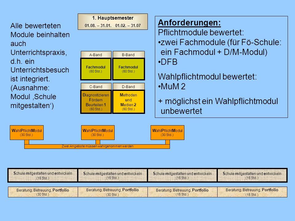 D-BandC-Band A-BandB-Band Fachmodul (60 Std.) Fachmodul (60 Std.) E rziehen, B eraten, B etreuen 2 (60 Std.) D iagnostizieren F ördern B eurteilen 2 (60 Std.) 2.
