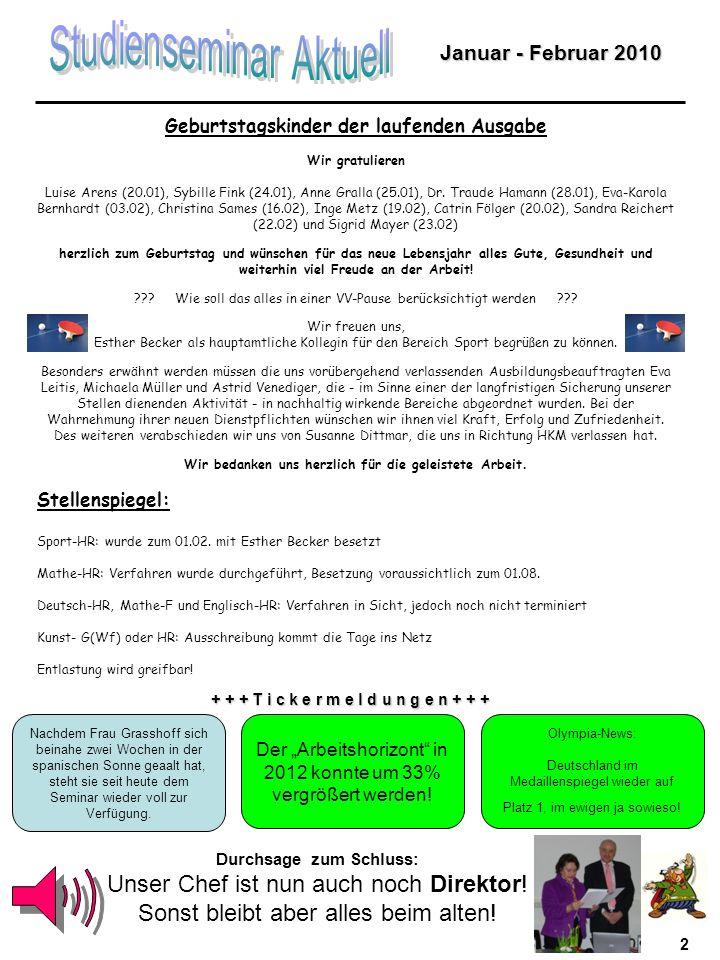 2 Geburtstagskinder der laufenden Ausgabe Wir gratulieren Luise Arens (20.01), Sybille Fink (24.01), Anne Gralla (25.01), Dr.