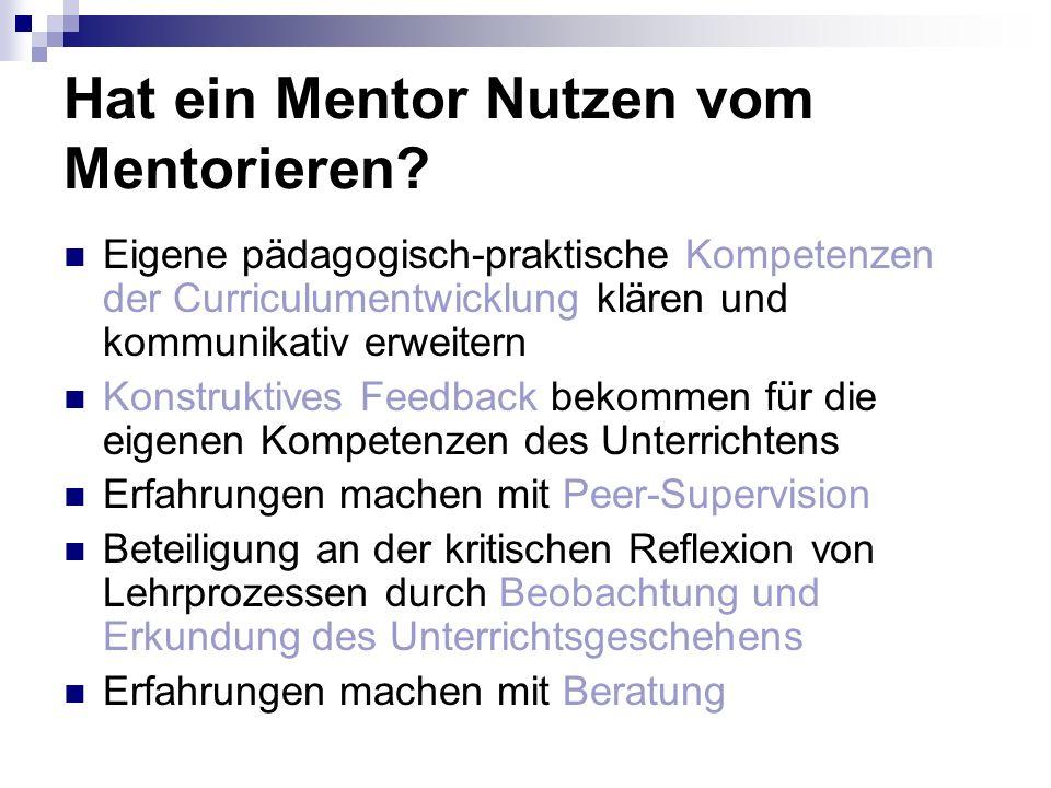 Hat ein Mentor Nutzen vom Mentorieren? Eigene pädagogisch-praktische Kompetenzen der Curriculumentwicklung klären und kommunikativ erweitern Konstrukt