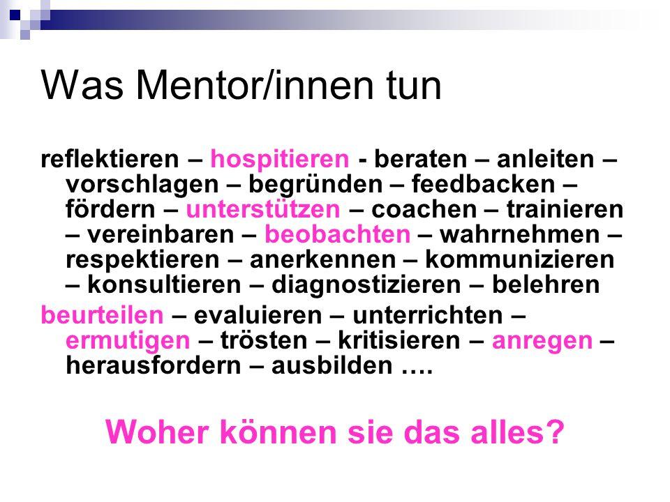 Was Mentor/innen tun reflektieren – hospitieren - beraten – anleiten – vorschlagen – begründen – feedbacken – fördern – unterstützen – coachen – train