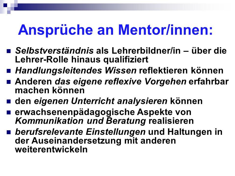 Ansprüche an Mentor/innen: Selbstverständnis als Lehrerbildner/in – über die Lehrer-Rolle hinaus qualifiziert Handlungsleitendes Wissen reflektieren k