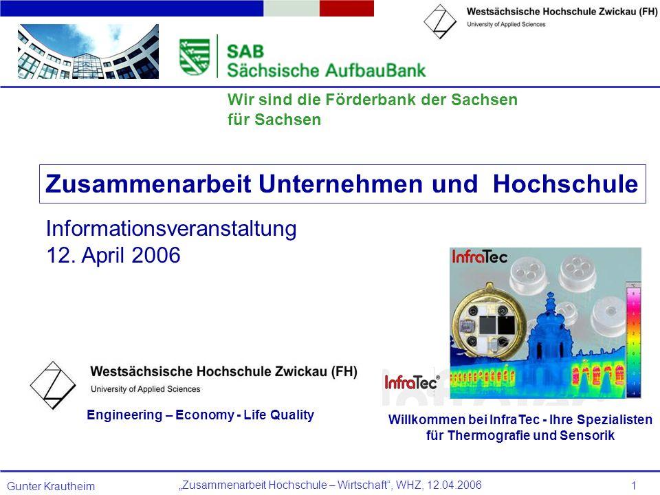 Zusammenarbeit Hochschule – Wirtschaft, WHZ, 12.04.2006 Gunter Krautheim 1 Wir sind die Förderbank der Sachsen für Sachsen Willkommen bei InfraTec - I