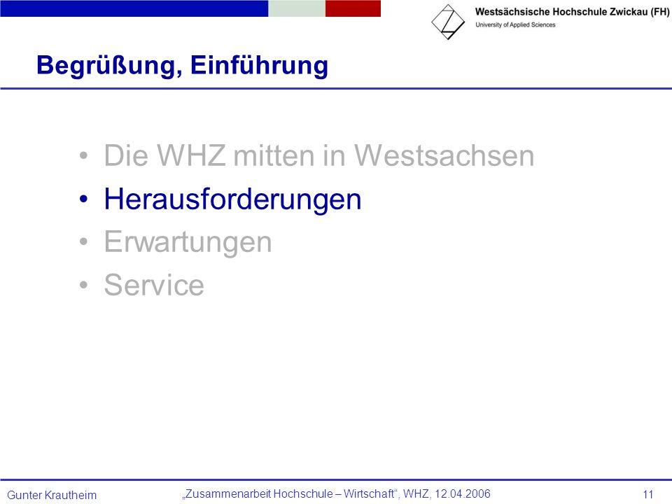 Zusammenarbeit Hochschule – Wirtschaft, WHZ, 12.04.2006 Gunter Krautheim 11 Begrüßung, Einführung Die WHZ mitten in Westsachsen Herausforderungen Erwa