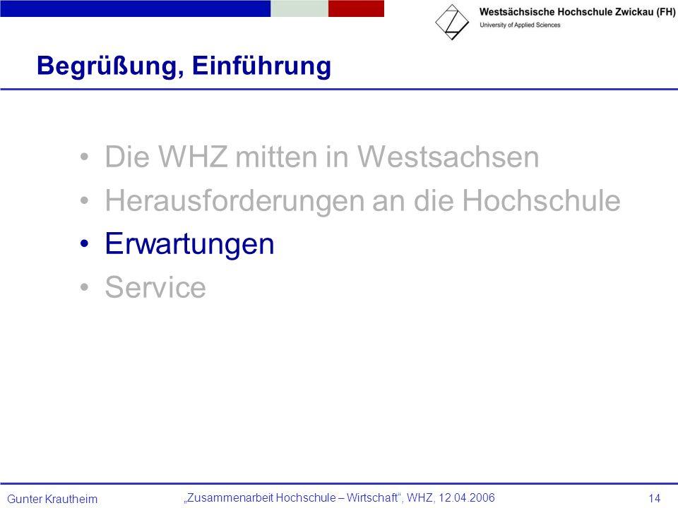 Zusammenarbeit Hochschule – Wirtschaft, WHZ, 12.04.2006 Gunter Krautheim 14 Begrüßung, Einführung Die WHZ mitten in Westsachsen Herausforderungen an d
