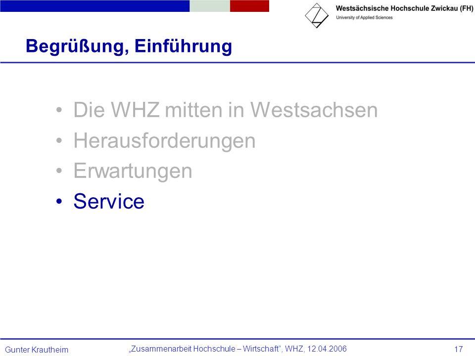 Zusammenarbeit Hochschule – Wirtschaft, WHZ, 12.04.2006 Gunter Krautheim 17 Begrüßung, Einführung Die WHZ mitten in Westsachsen Herausforderungen Erwa