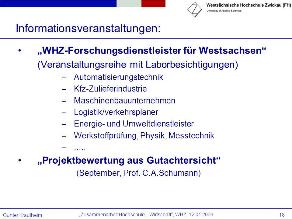 Zusammenarbeit Hochschule – Wirtschaft, WHZ, 12.04.2006 Gunter Krautheim 18 WHZ-Forschungsdienstleister für Westsachsen (Veranstaltungsreihe mit Labor
