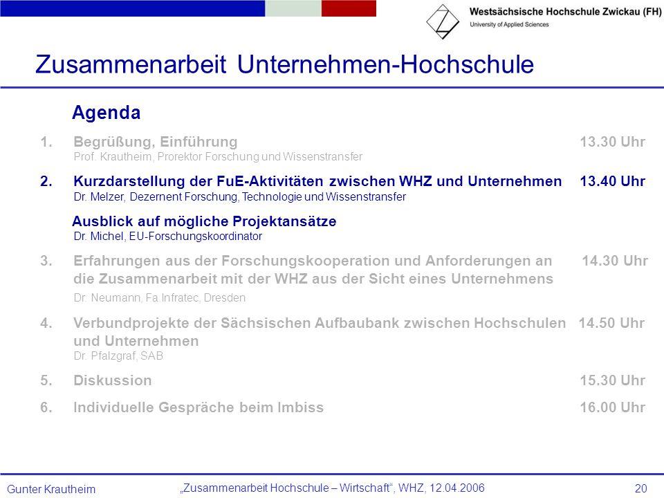 Zusammenarbeit Hochschule – Wirtschaft, WHZ, 12.04.2006 Gunter Krautheim 20 Agenda 1.Begrüßung, Einführung 13.30 Uhr Prof. Krautheim, Prorektor Forsch