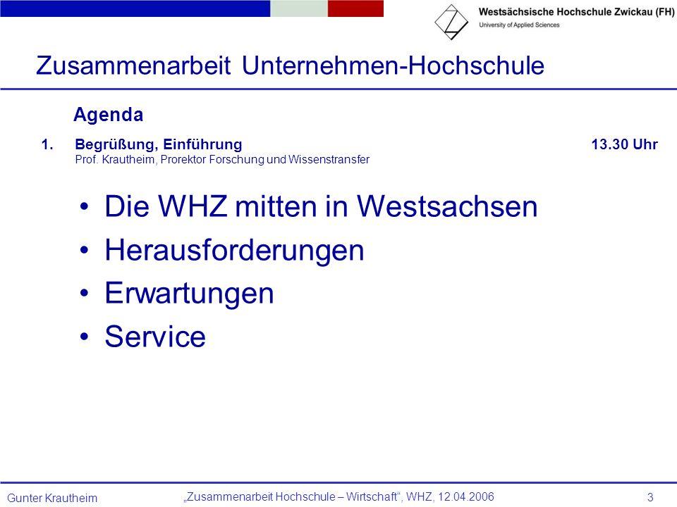 Zusammenarbeit Hochschule – Wirtschaft, WHZ, 12.04.2006 Gunter Krautheim 3 Agenda 1.Begrüßung, Einführung 13.30 Uhr Prof. Krautheim, Prorektor Forschu