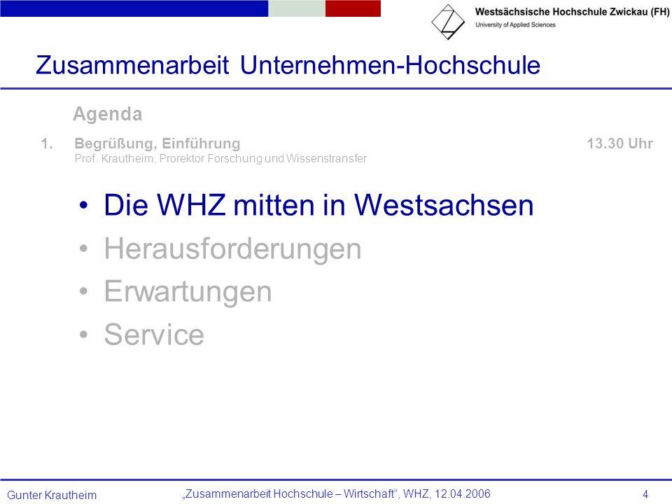 Zusammenarbeit Hochschule – Wirtschaft, WHZ, 12.04.2006 Gunter Krautheim 4 Agenda 1.Begrüßung, Einführung 13.30 Uhr Prof. Krautheim, Prorektor Forschu
