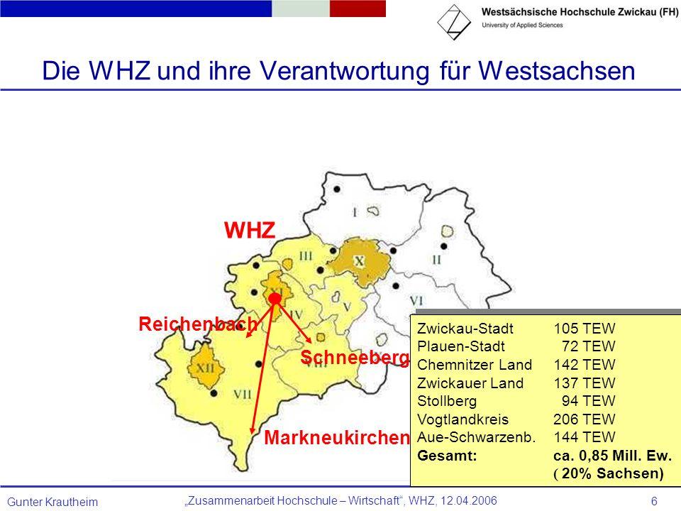 Zusammenarbeit Hochschule – Wirtschaft, WHZ, 12.04.2006 Gunter Krautheim 6 Markneukirchen Schneeberg WHZ Zwickau-Stadt105 TEW Plauen-Stadt 72 TEW Chem