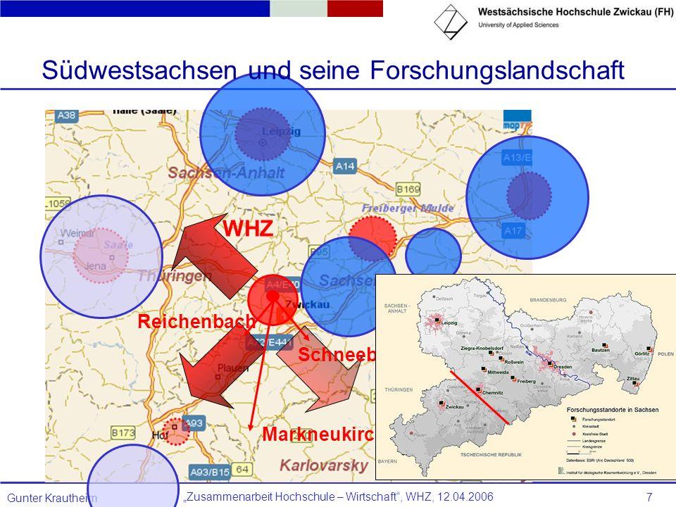 Zusammenarbeit Hochschule – Wirtschaft, WHZ, 12.04.2006 Gunter Krautheim 7 Markneukirchen Reichenbach Schneeberg WHZ Südwestsachsen und seine Forschun