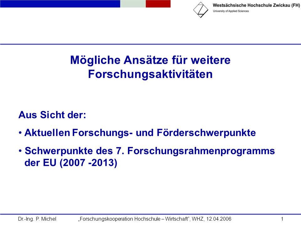 Dr.-Ing. P. Michel Forschungskooperation Hochschule – Wirtschaft, WHZ, 12.04.20061 Mögliche Ansätze für weitere Forschungsaktivitäten Aus Sicht der: A