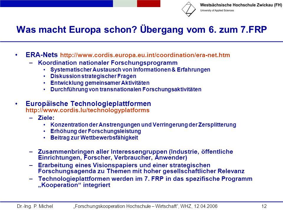 Dr.-Ing. P. Michel Forschungskooperation Hochschule – Wirtschaft, WHZ, 12.04.200612 Was macht Europa schon? Übergang vom 6. zum 7.FRP ERA-Nets http://