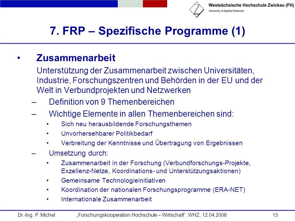 Dr.-Ing. P. Michel Forschungskooperation Hochschule – Wirtschaft, WHZ, 12.04.200615 7. FRP – Spezifische Programme (1) Zusammenarbeit Unterstützung de