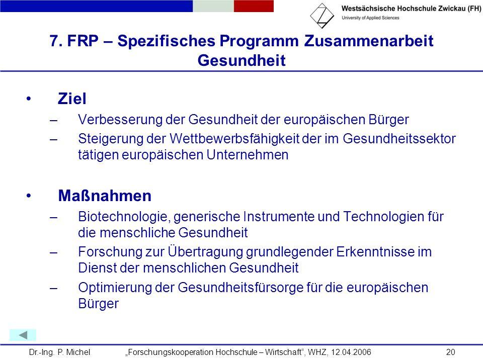 Dr.-Ing. P. Michel Forschungskooperation Hochschule – Wirtschaft, WHZ, 12.04.200620 7. FRP – Spezifisches Programm Zusammenarbeit Gesundheit Ziel –Ver