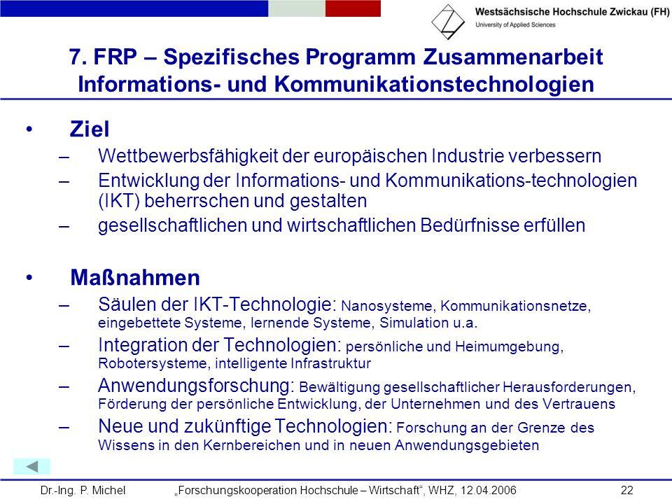 Dr.-Ing. P. Michel Forschungskooperation Hochschule – Wirtschaft, WHZ, 12.04.200622 7. FRP – Spezifisches Programm Zusammenarbeit Informations- und Ko