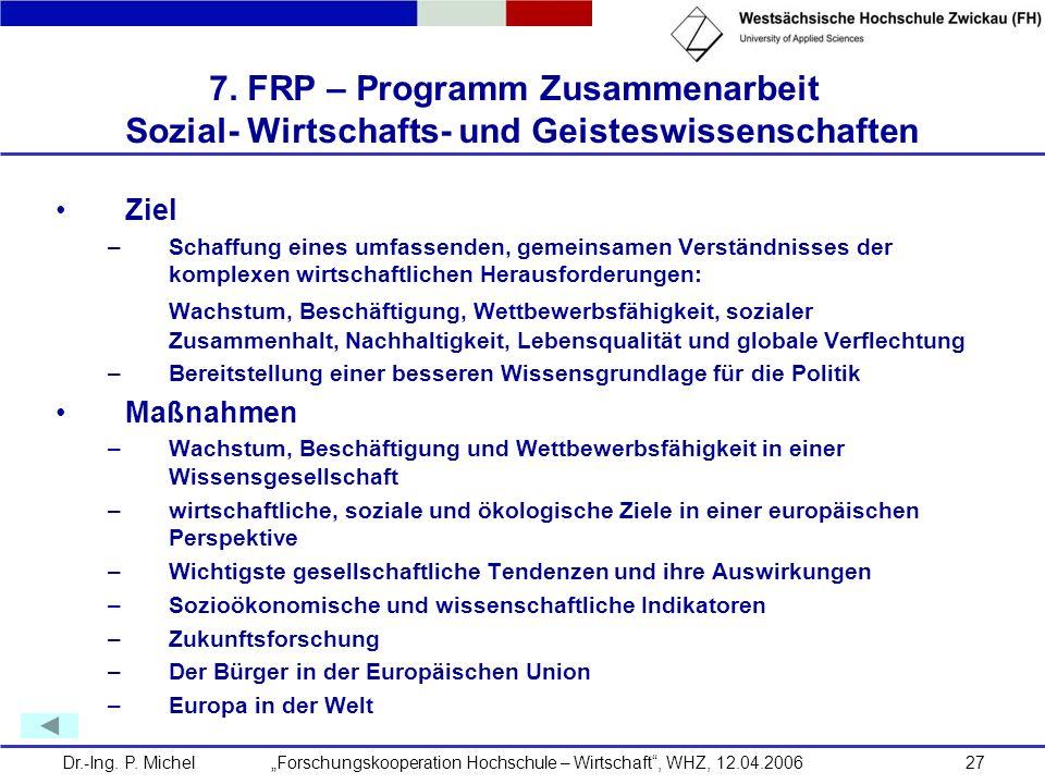 Dr.-Ing. P. Michel Forschungskooperation Hochschule – Wirtschaft, WHZ, 12.04.200627 7. FRP – Programm Zusammenarbeit Sozial- Wirtschafts- und Geistesw